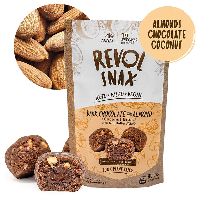 Revol Snax Dark Chocolate & Almond Coconut Bites With Nut Butter Filling 3.7 Oz