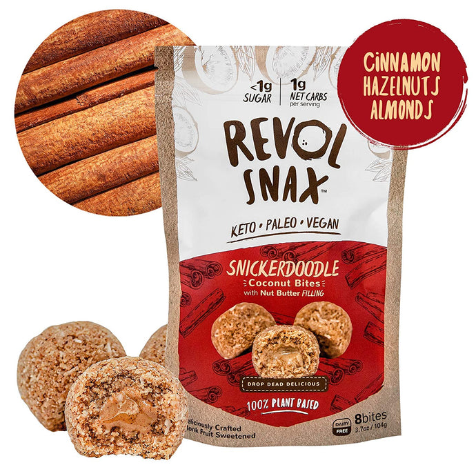 Revol Snax Snickerdoodle Coconut Bites With Nut Butter Filling 3.7 Oz