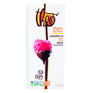 Theo Chocolate Organic 70% Dark Chocolate Bar Raspberry 3 oz - Vegan