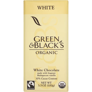 Green and Black's Organic Chocolate Bars - White Chocolate - 30 Percent Cacao - 3.5 oz Bars