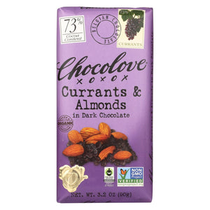 Chocolove Organic Dark Chocolate Bar Currants and Almonds 3.2 oz
