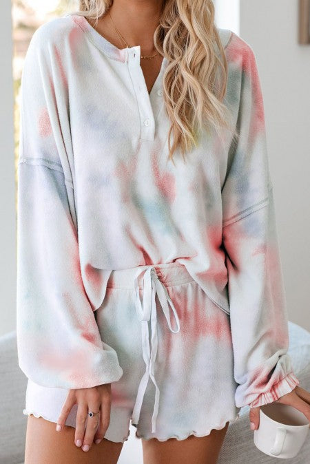Tie-Dyed Henley Set