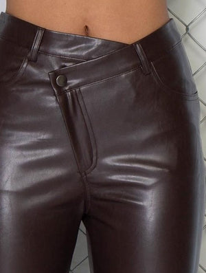 Asymmetrical Faux Leather Pants
