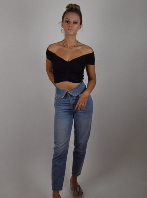 Black Ruched Crop