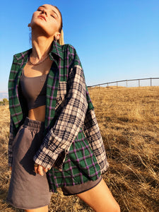 Green Contrast Plaid Shirt