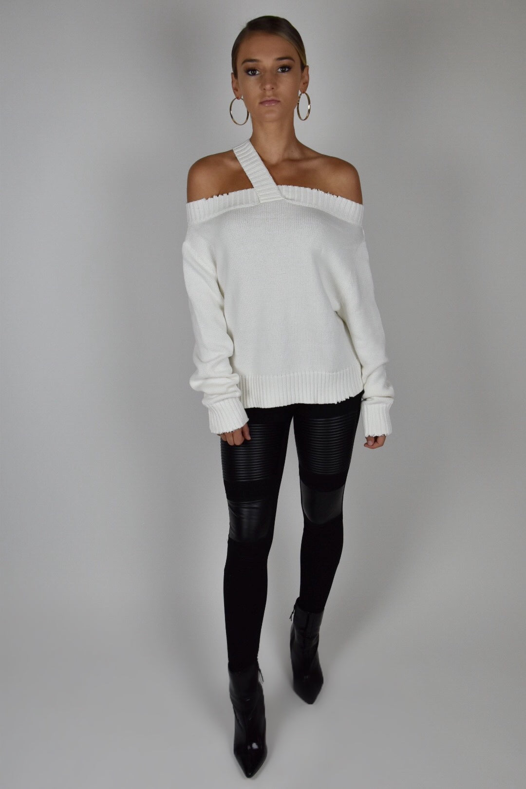 White Asymmetrical Sweater