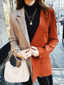 Terracotta Contrast Plaid Blazer