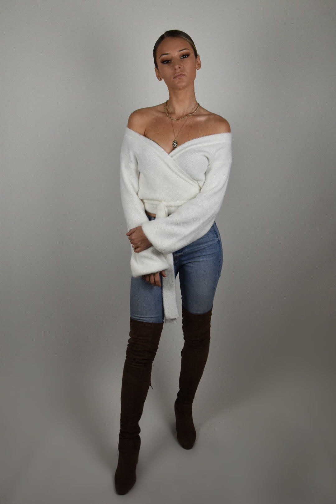 White Wrap Tie Sweater