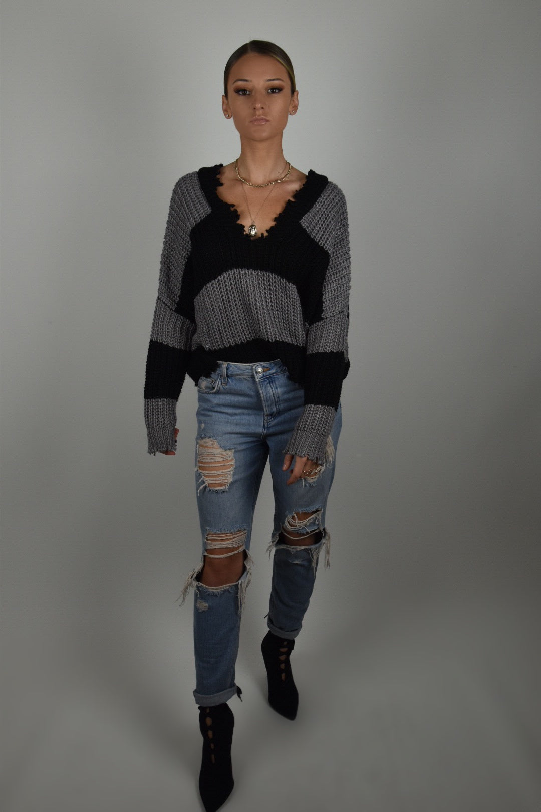 Striped Distressed Sweater