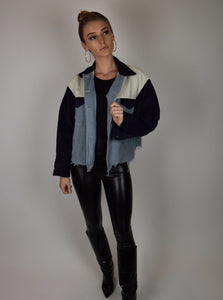 Blue Color Block Jacket