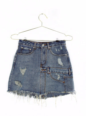 Double Belt Loop Denim Skirt