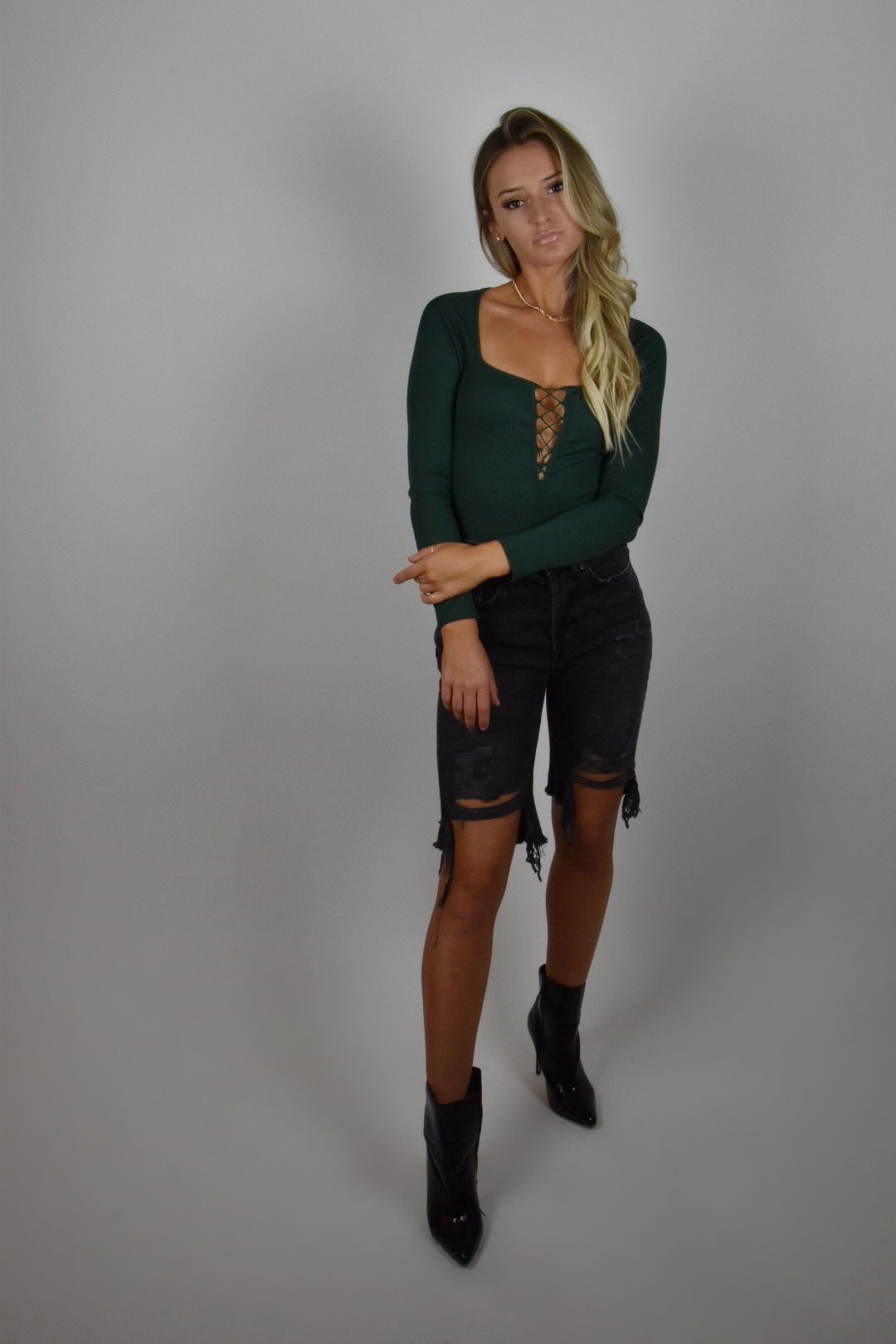 Emerald Green Crisscross Bodysuit