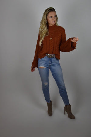 Burnt Orange Ripped Sweater