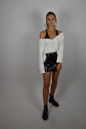 Distressed White Knit Sweater