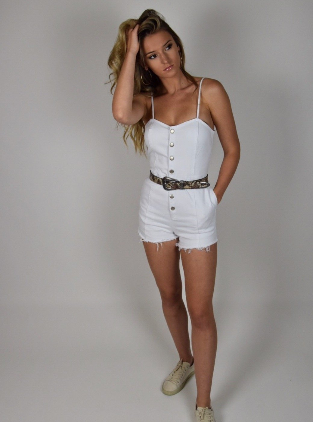 White Denim Romper
