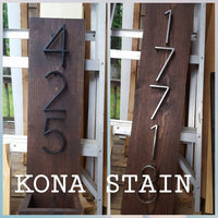 Vertical Address Planter Plaque with Modern Numbers