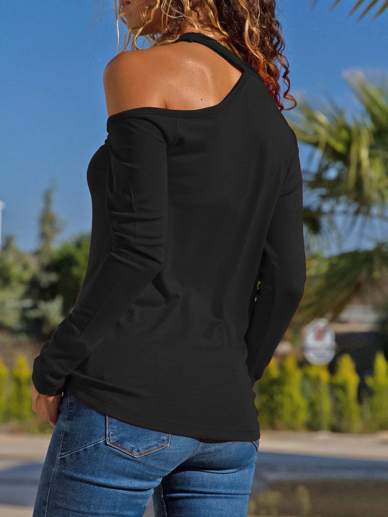 Cotton-Blend Manche longue Licou Coupé Tops