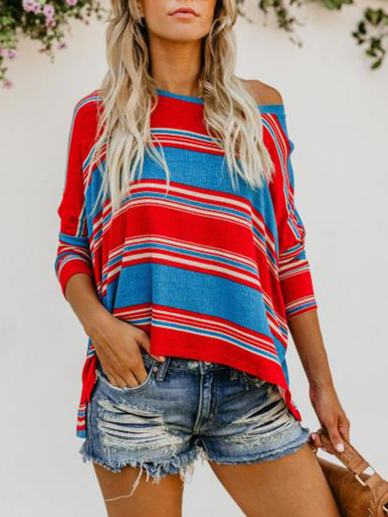 Red-Blue Col rond Manche longue Blouses &t-Shirts
