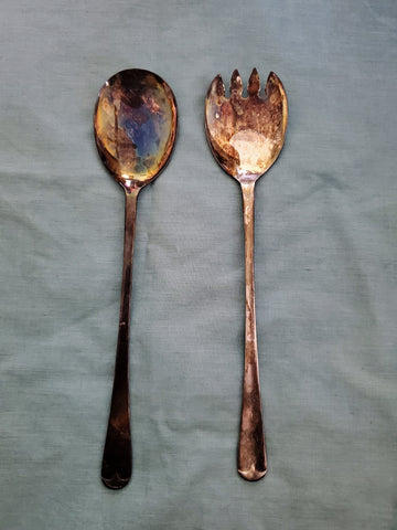 Vintage Silver Plate Spoon & Fork Serving - Set of 2 - Sheffield England - MiscellaneousByDawn