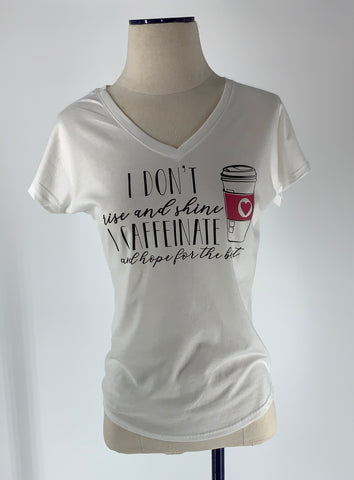 I Caffeinate Ladies V-Neck T-Shirt