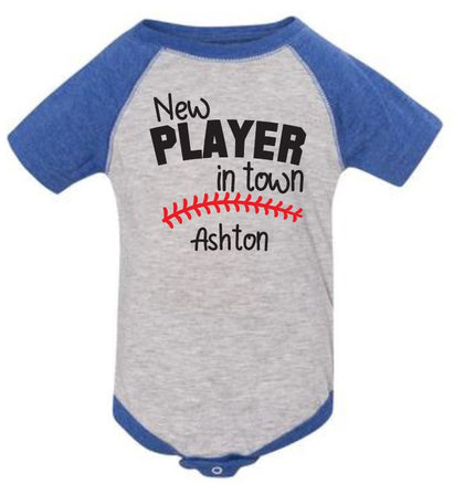New Player in Town Baseball Jersey Bodysuit