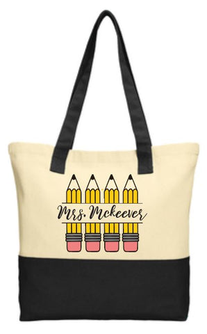 Teacher Pencil Tote Bag