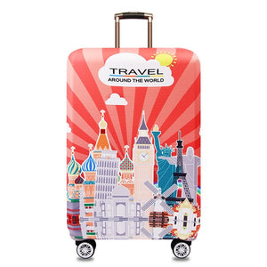Suitcase Protective Cover Elastic Around The World