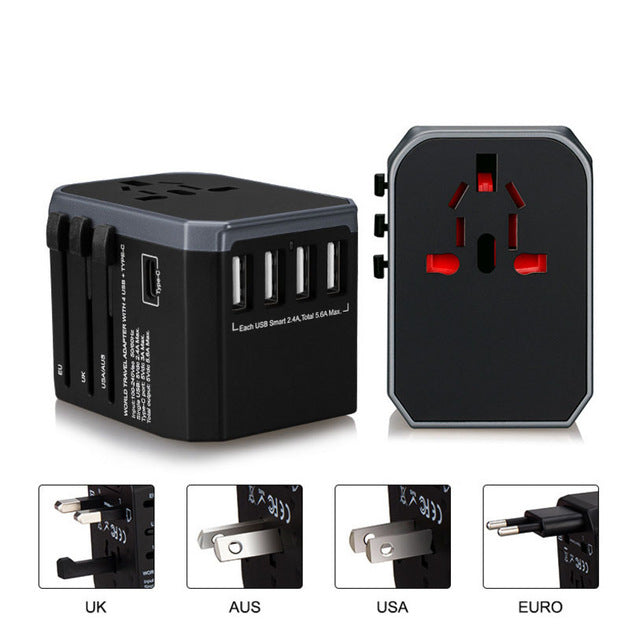 Travel Adapter Universal AC Power adapter 4 USB Charger