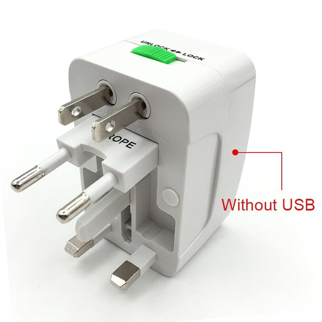 Universal World Charger Adapter Plug All in one Travel AC Power Adapter Converter to US/UK/AU/EU Plug Socket Electrical 2 USB