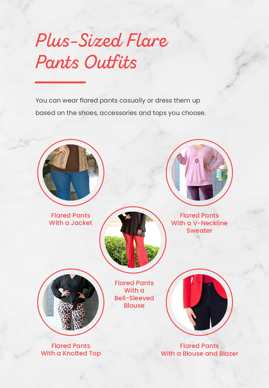 Plus-Sized Flare Pants Outfits