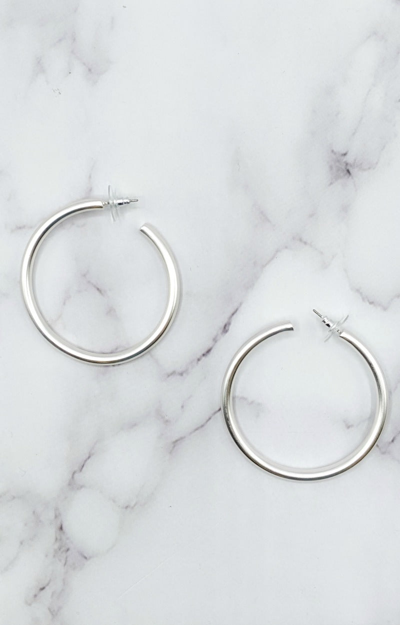 Load image into Gallery viewer, Call Me Baby Hoop Earrings - Silver
