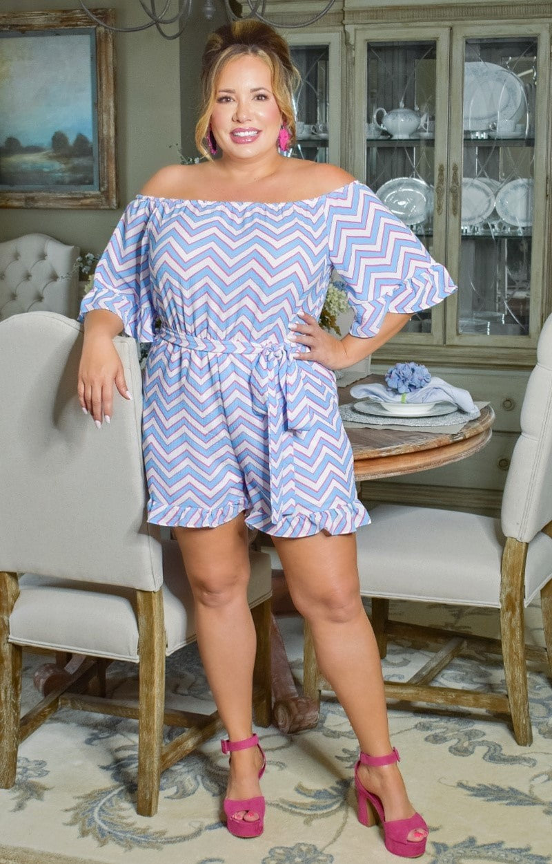 Load image into Gallery viewer, Call Me In Print Romper - Blue