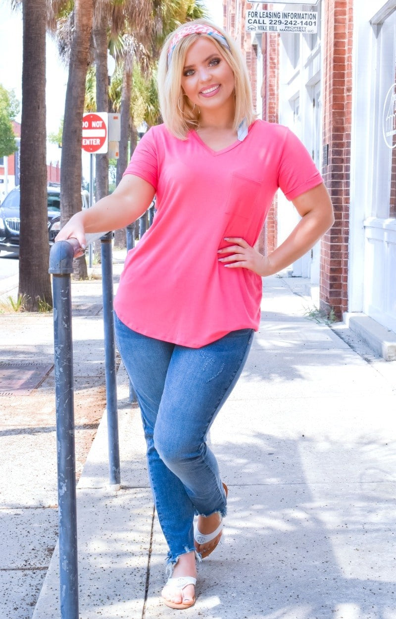 How About It Pocket Tee - Coral