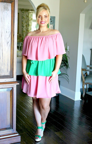 Hidden Beauty Colorblock Dress - Peach/Green