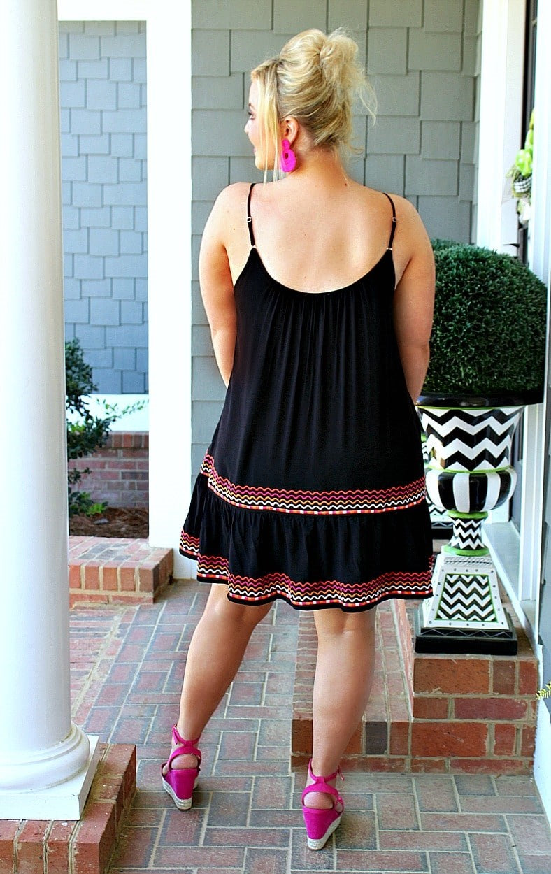 Join Me Embroidered Dress - Black