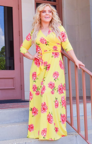 Untamed Love Floral Maxi Dress - Yellow