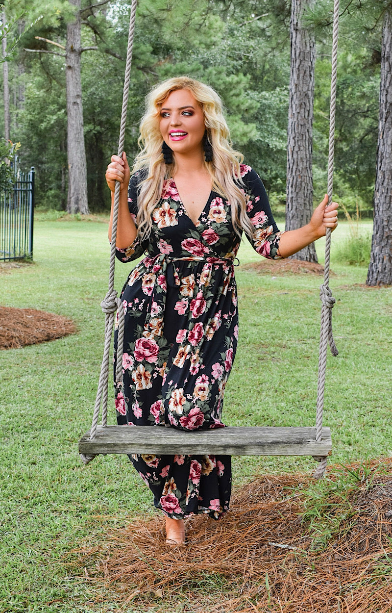 Stay Sweet Floral Maxi Dress - Black
