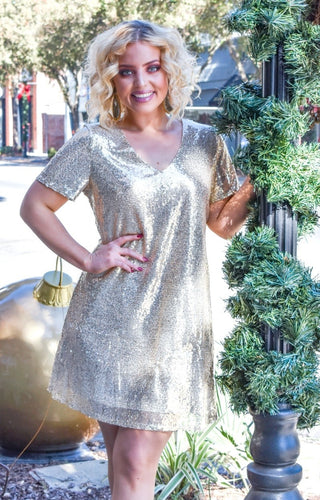 Center Stage Sequin Dress - Champagne