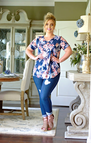 See For Yourself Floral Top - Navy