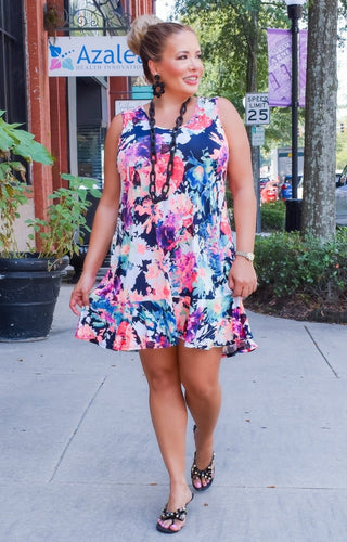 She's A Keeper Floral Dress - Black