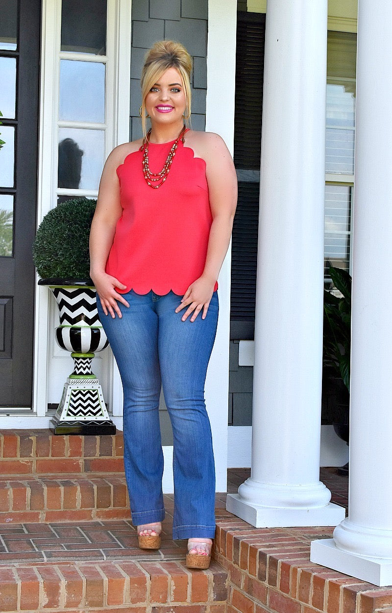 Breaking The Rules Scalloped Top