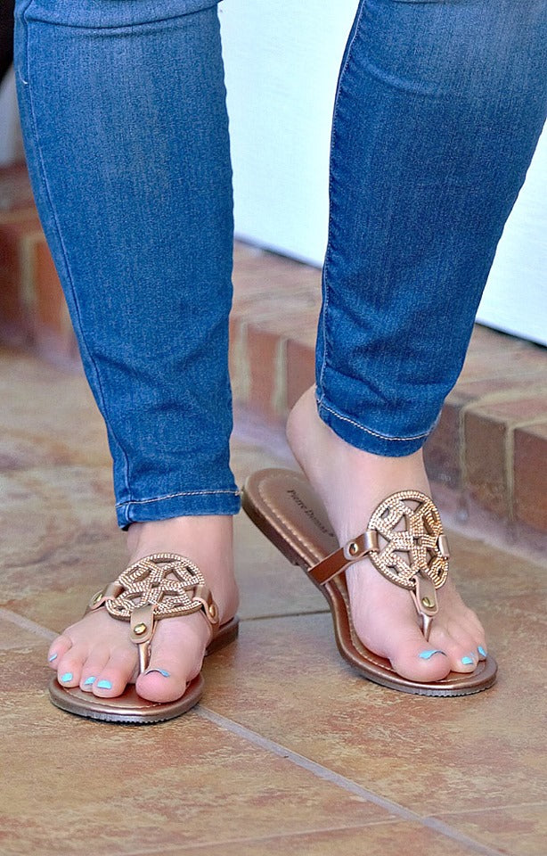 Load image into Gallery viewer, Watch You Go Sandals - Rose Gold