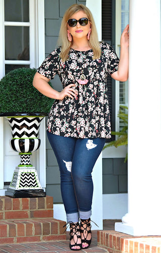 Wish You the Best Floral Top - Black