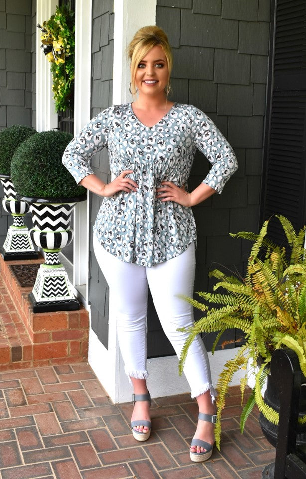Changing Spots Print Top - Teal