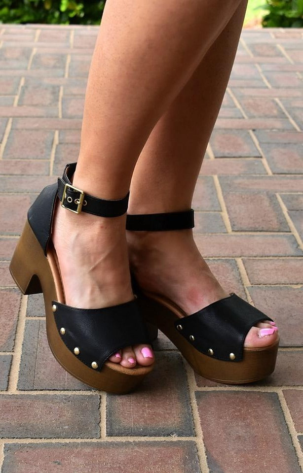 Clear A Path Ankle Strap Heels - Black
