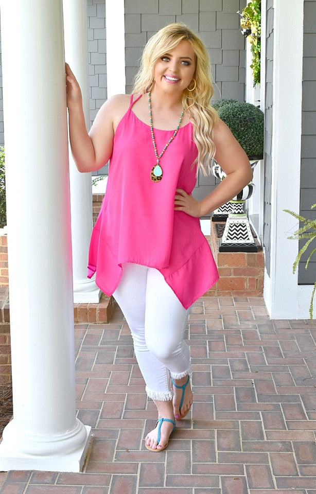 Go With The Flow Top - Hot Pink