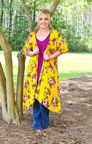Come Away With Me Floral Kimono - Yellow