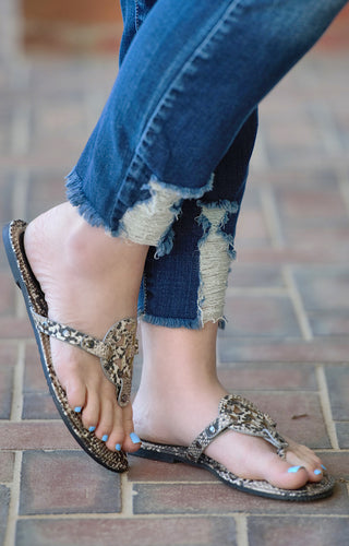 Watch You Go Snake Print Sandals