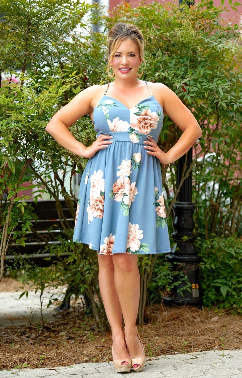 Load image into Gallery viewer, She's Dangerous Floral Dress - Blue