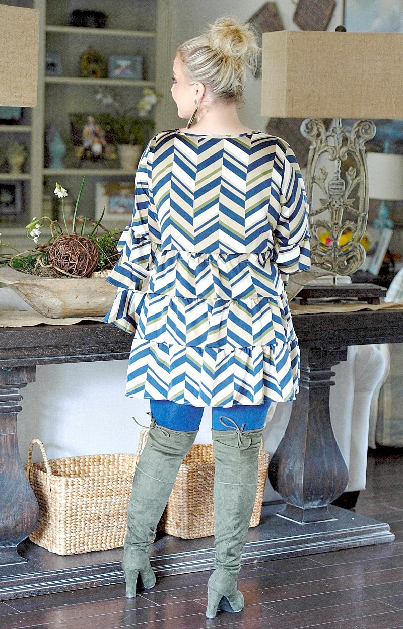 Popular Girl Print Dress/Tunic - Navy/Multi